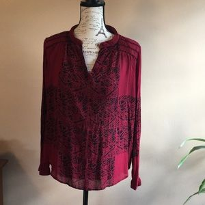 Lucky Brand split-neck blouse